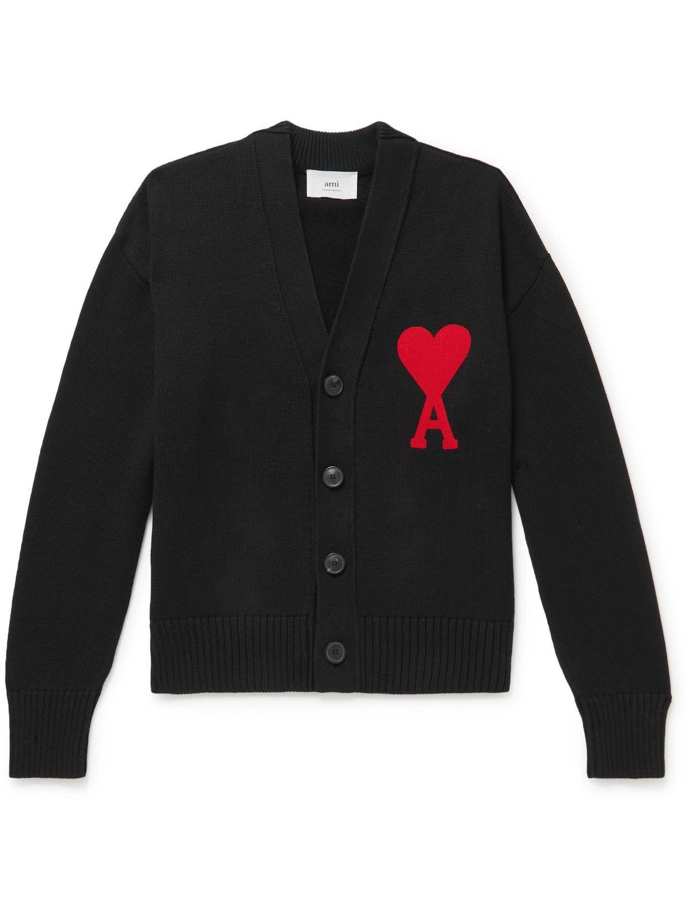 Photo: AMI PARIS - Slim-Fit Organic Cotton and Wool-Blend Cardigan - Black