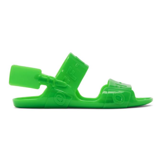 Off-White Green Zip-Tie Jelly Sandals