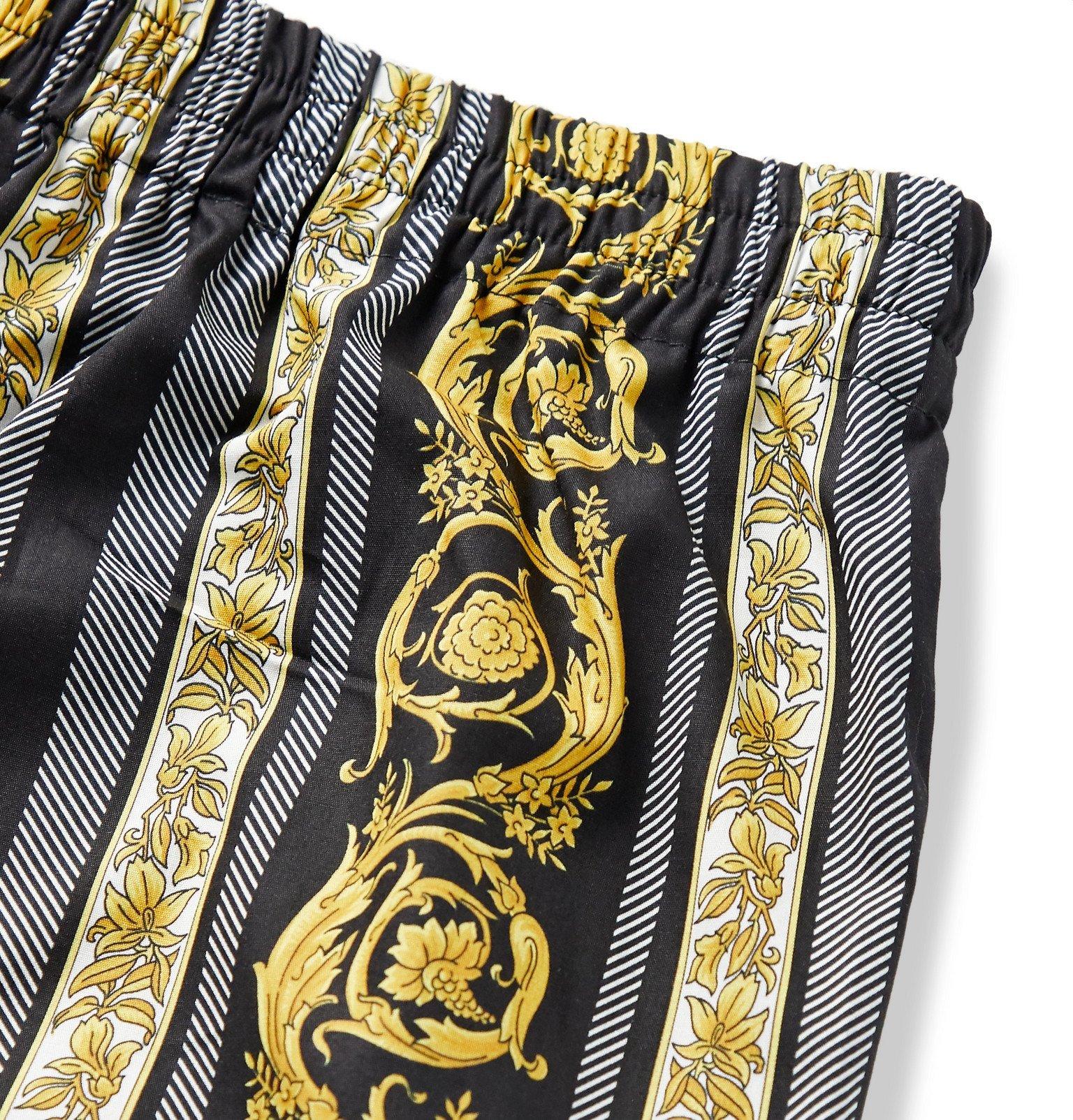 Versace - Printed Cotton Boxer Shorts - Black
