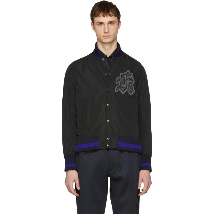 Photo: Kolor Black Logo Patch Bomber Jacket