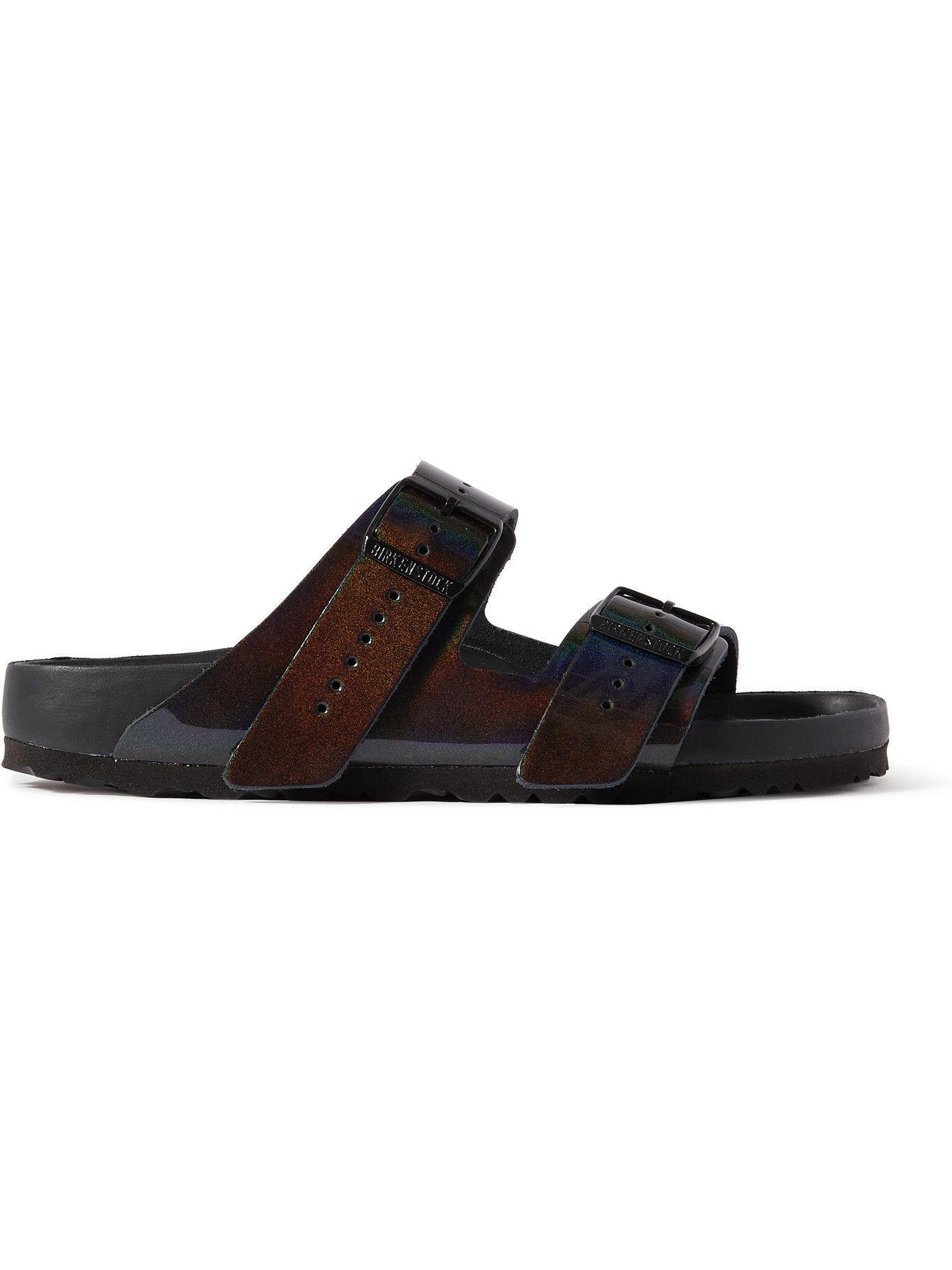 Photo: RICK OWENS - Birkenstock Arizona Iridescent Leather Sandals - Blue