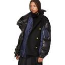 Sacai Black and Navy Melton Wool MA-1 Combo Puffer Jacket