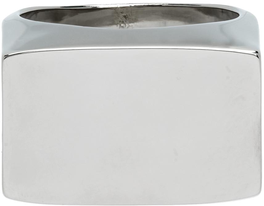 Photo: Dries Van Noten Silver Rectangle Flat Top Ring