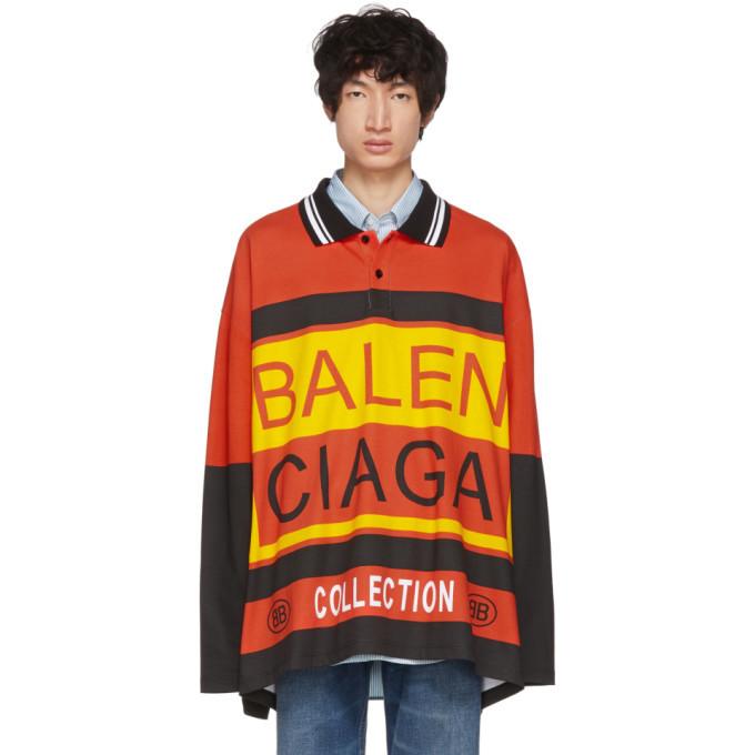 Photo: Balenciaga Multicolor Logo Oversized Polo
