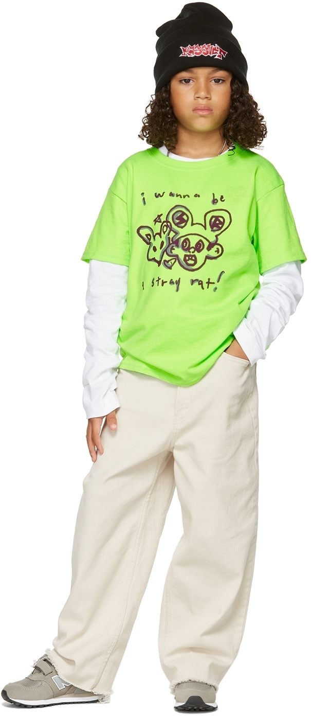 Photo: Stray Rats SSENSE Exclusive Kids Green Cotton 'I Wanna Be' T-Shirt
