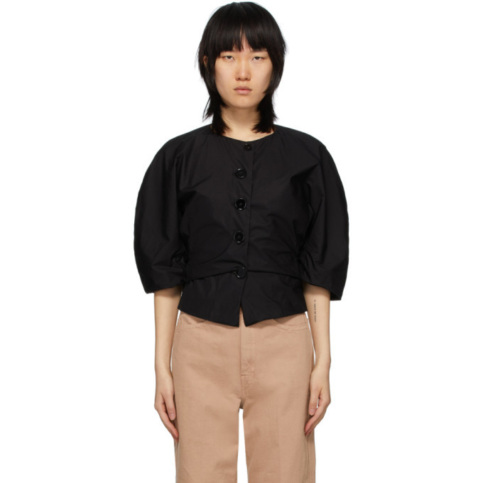 Photo: Lemaire Black Cotton Poplin Shirt Jacket