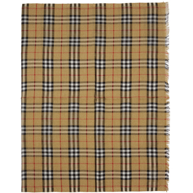 Photo: Burberry Yellow and Gold Check Scarf