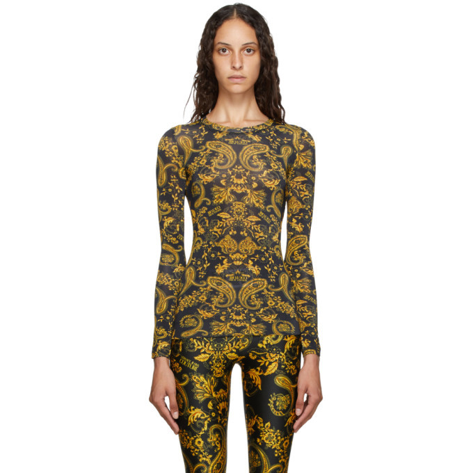 Versace Jeans Couture Black and Gold Paisley Loop T-Shirt