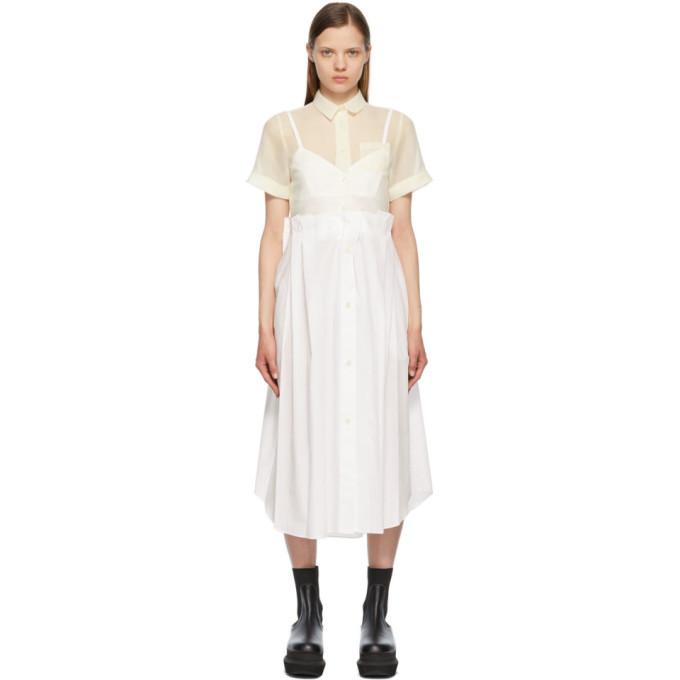 Sacai White Poplin and Organza Dress