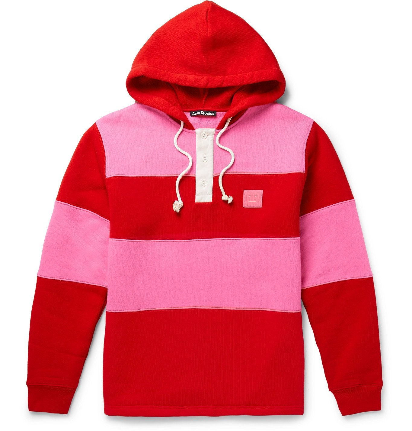 Photo: Acne Studios - Oversized Logo-Appliquéd Striped Fleece-Back Cotton-Jersey Hoodie - Red