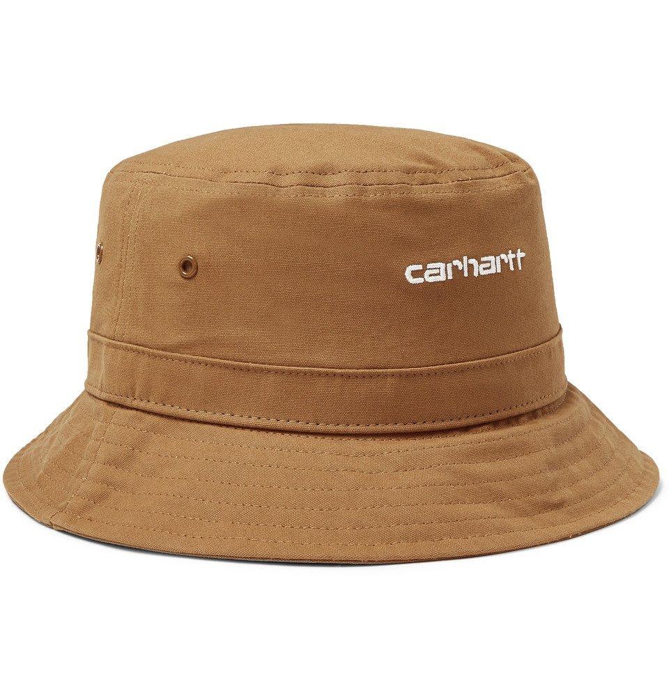 Photo: Carhartt WIP - Script Logo-Embroidered Cotton-Canvas Bucket Hat - Camel