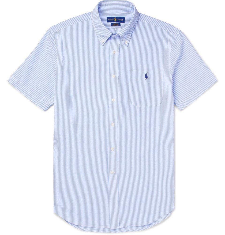 Photo: Polo Ralph Lauren - Slim-Fit Button-Down Collar Striped Cotton-Seersucker Shirt - Men - Blue