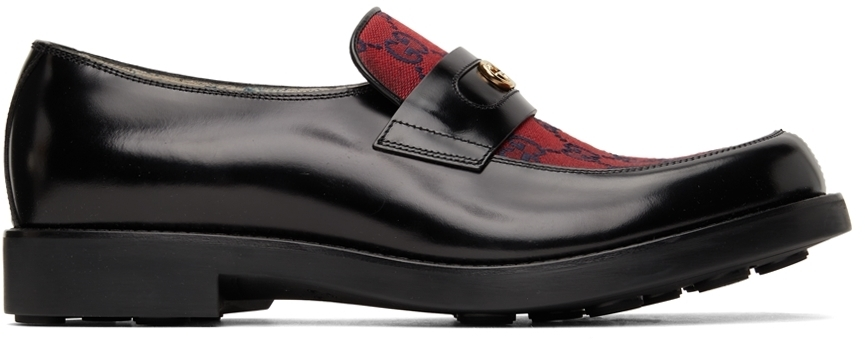 Photo: Gucci Black & Red GG Loafers
