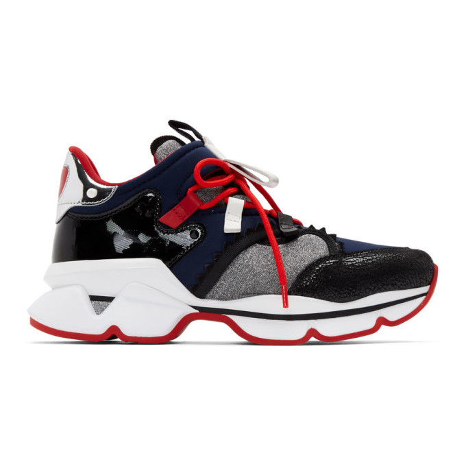 Photo: Christian Louboutin Black and Navy Red-Runner Flat Sneakers