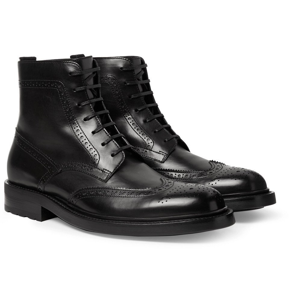 Photo: SAINT LAURENT - Polished-Leather Wingtip Brogue Boots - Black