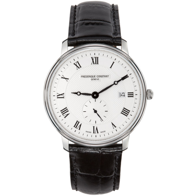 Photo: Frederique Constant Silver and Black Slimline Gents Small Seconds Watch