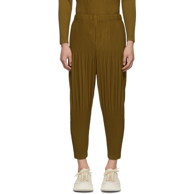Photo: Homme Plisse Issey Miyake Tan Cropped Wide Pleat Trousers