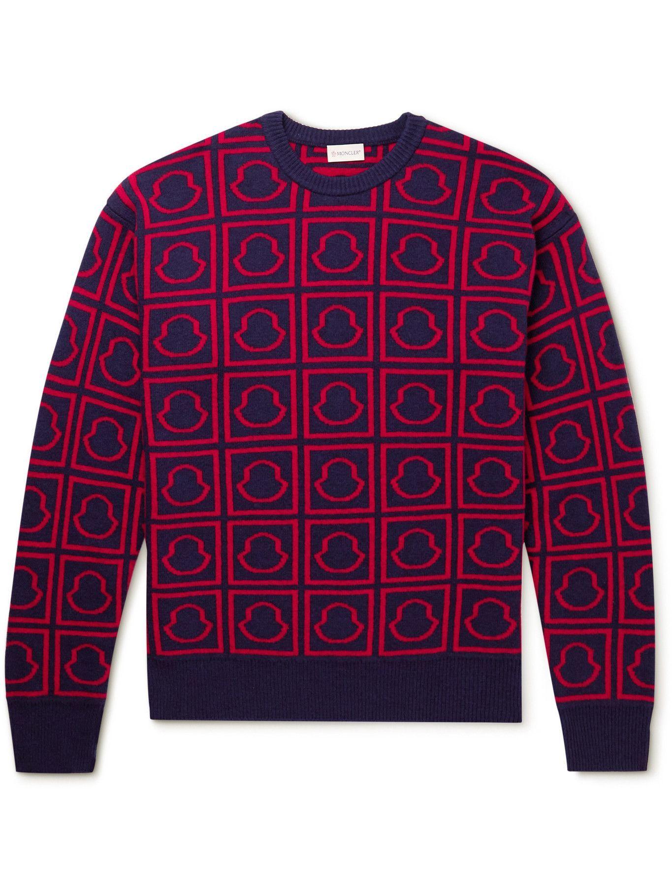 Photo: Moncler - Jacquard-Knit Wool Sweater - Blue
