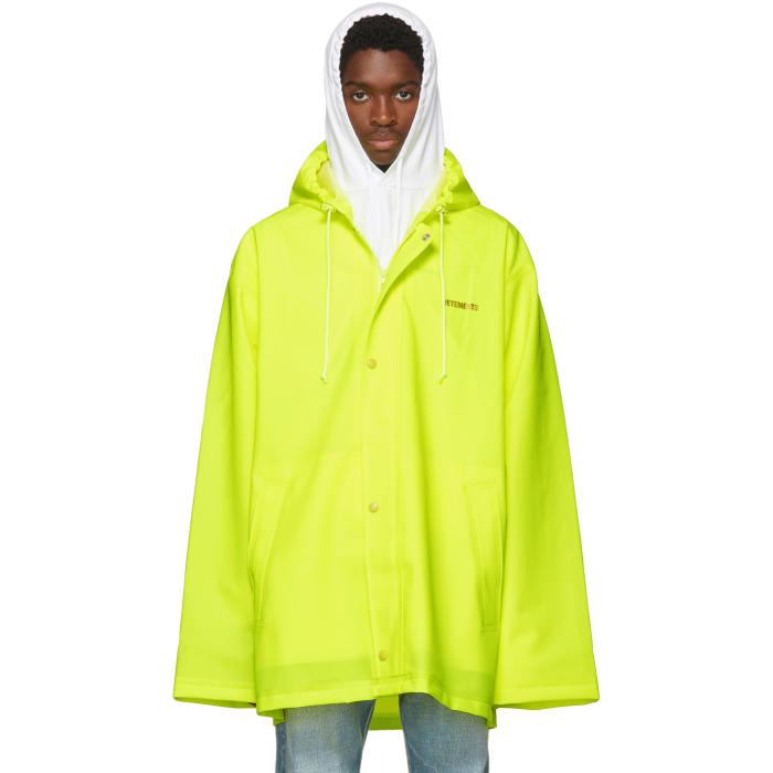 Photo: Vetements Yellow Short Logo Raincoat