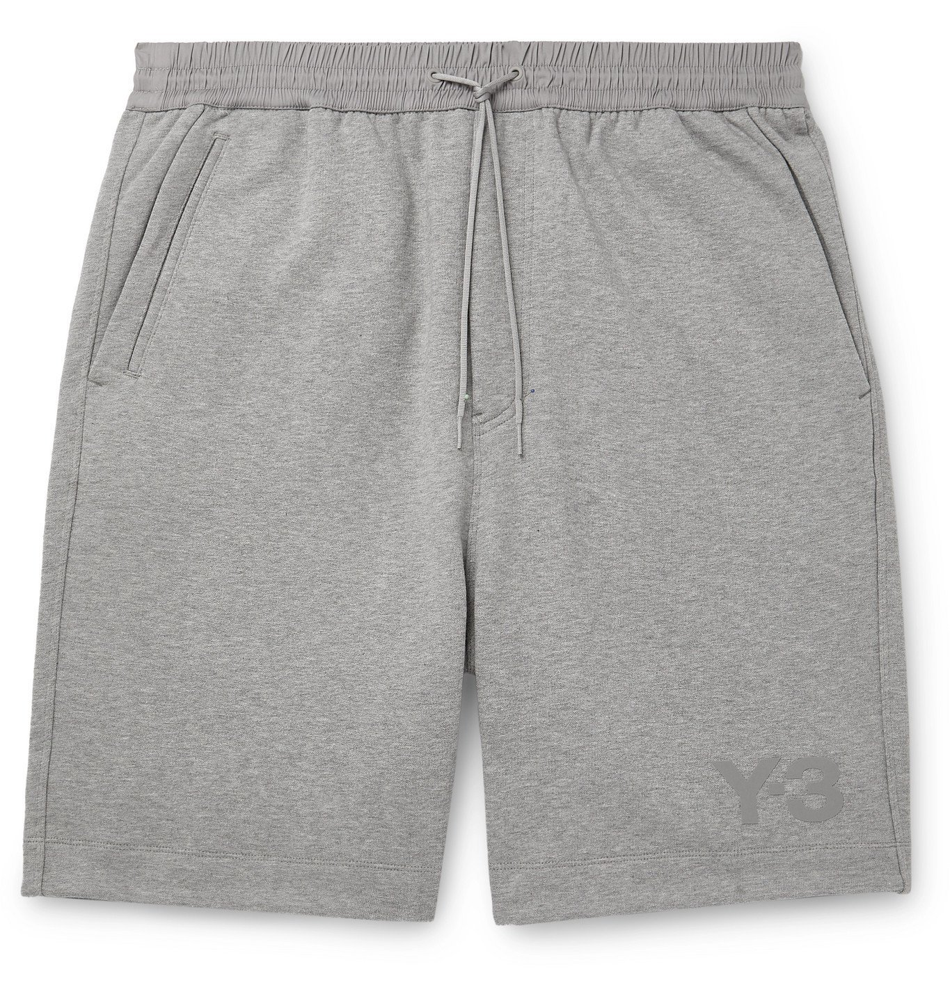 Photo: Y-3 - Wide-Leg Shell-Trimmed Mélange Loopback Cotton-Jersey Drawstring Shorts - Gray