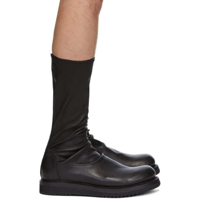 Photo: Rick Owens Black Nubuck Creeper Sock Boots