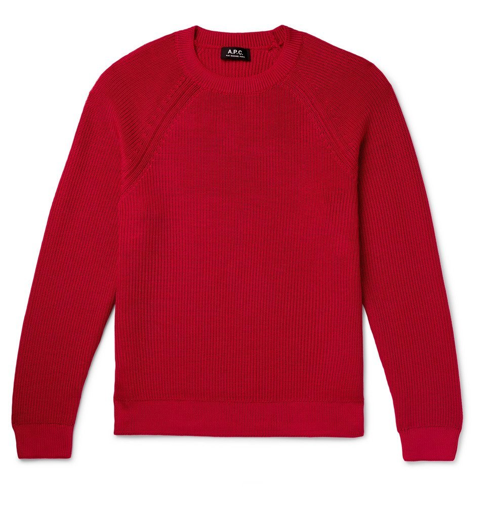 Photo: A.P.C. - Slim-Fit Knitted Sweater - Red