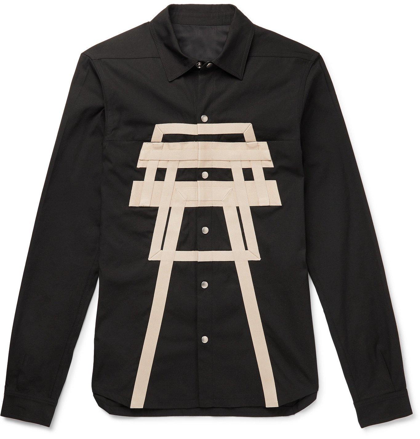 Photo: Rick Owens - Webbing-Trimmed Cotton-Blend Overshirt - Black