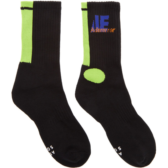 Photo: ADER error Black and Green Colorblock Socks