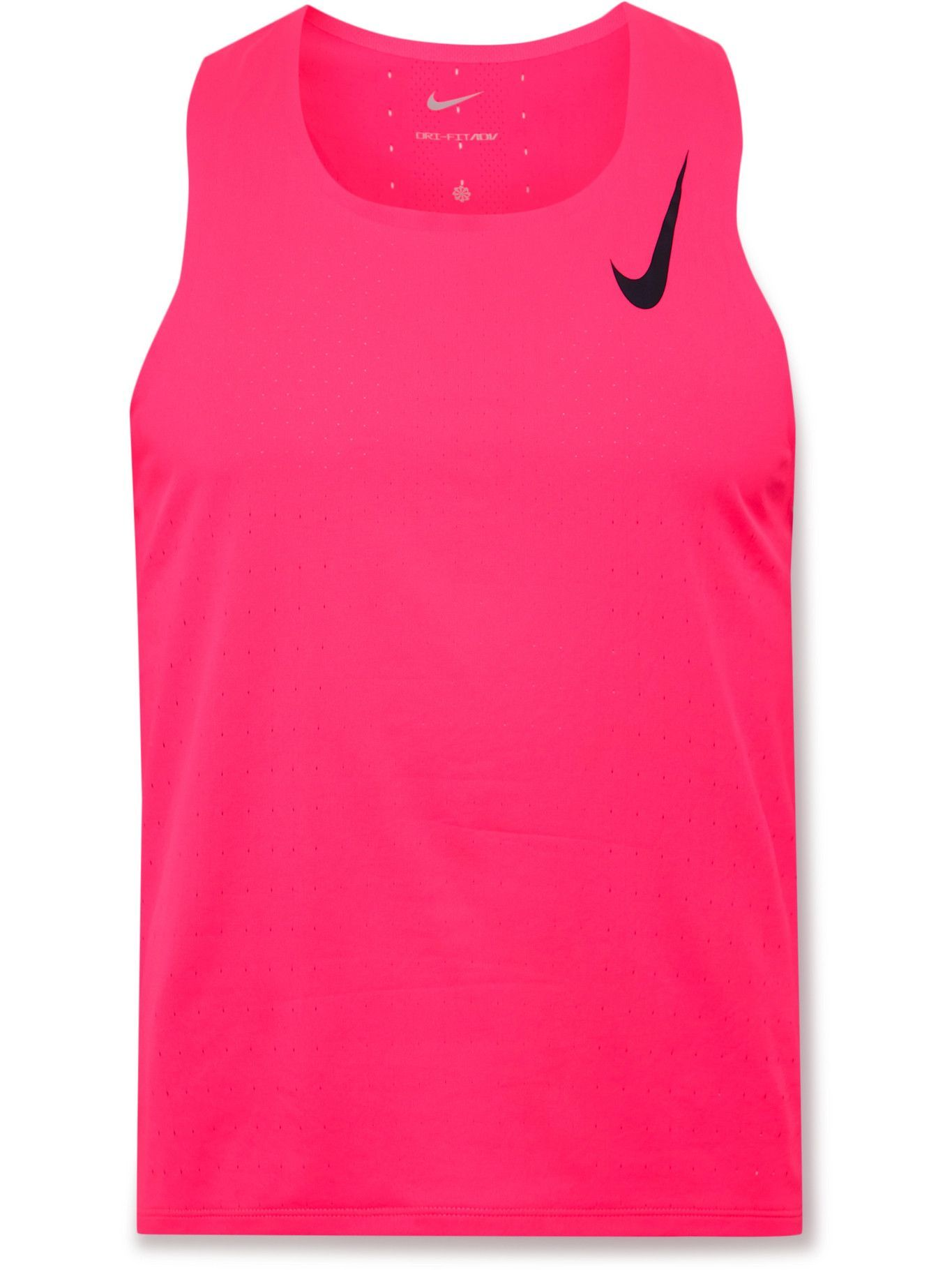 Photo: Nike Running - Logo-Print Perforated Recycled AeroSwift Dri-FIT Tank Top - Pink