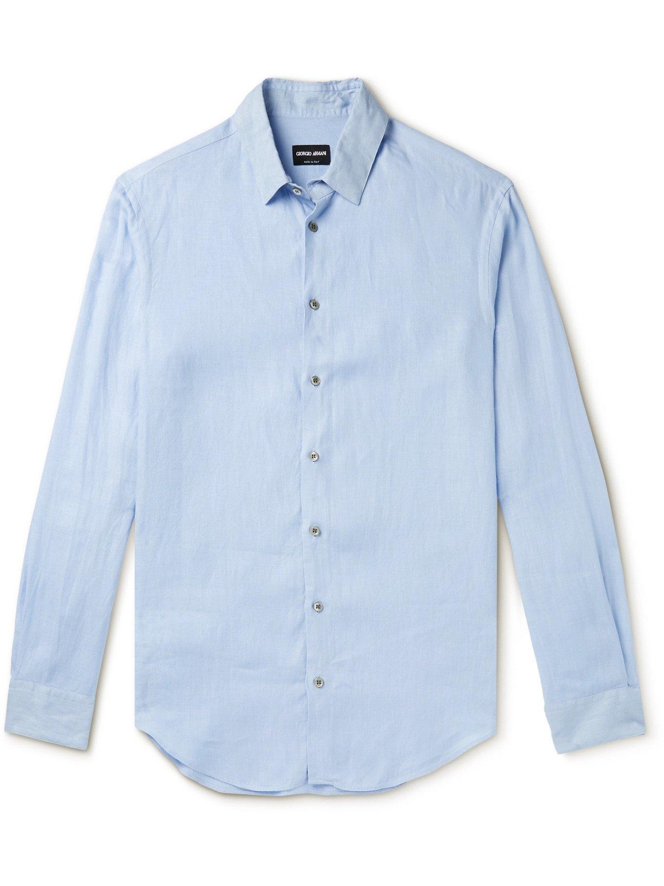GIORGIO ARMANI - Linen Shirt - Blue
