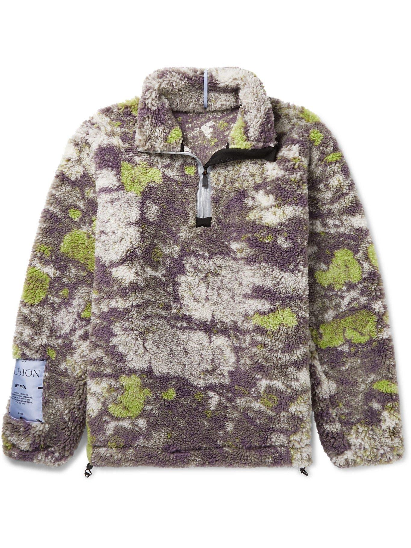 MCQ - Printed Half-Zip Fleece Sweatshirt - Brown