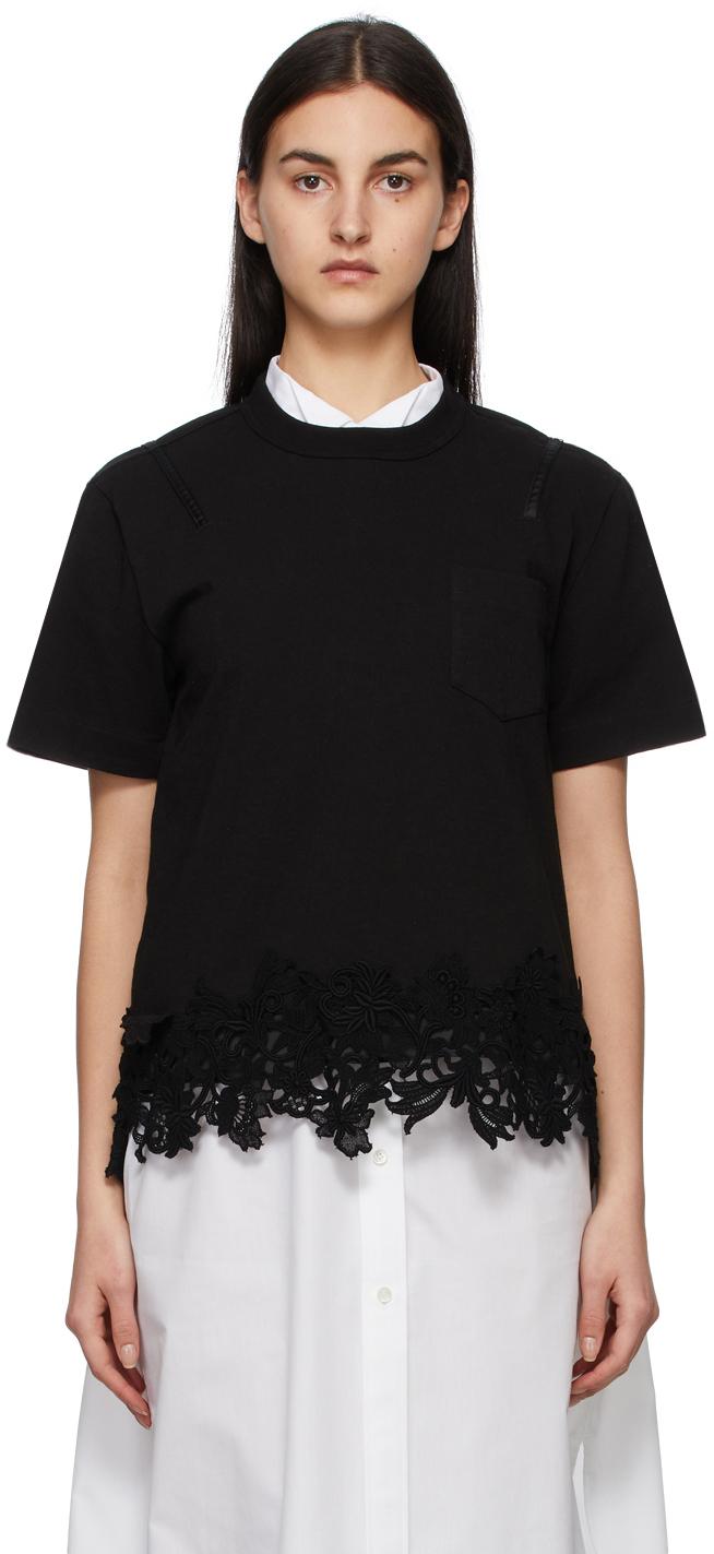 Sacai Black Jersey & Lace Pocket T-Shirt