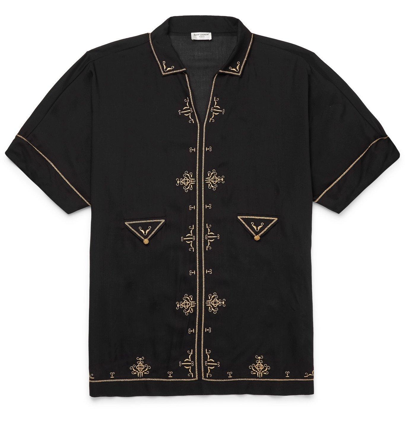 Photo: SAINT LAURENT - Embroidered Voile Shirt - Black