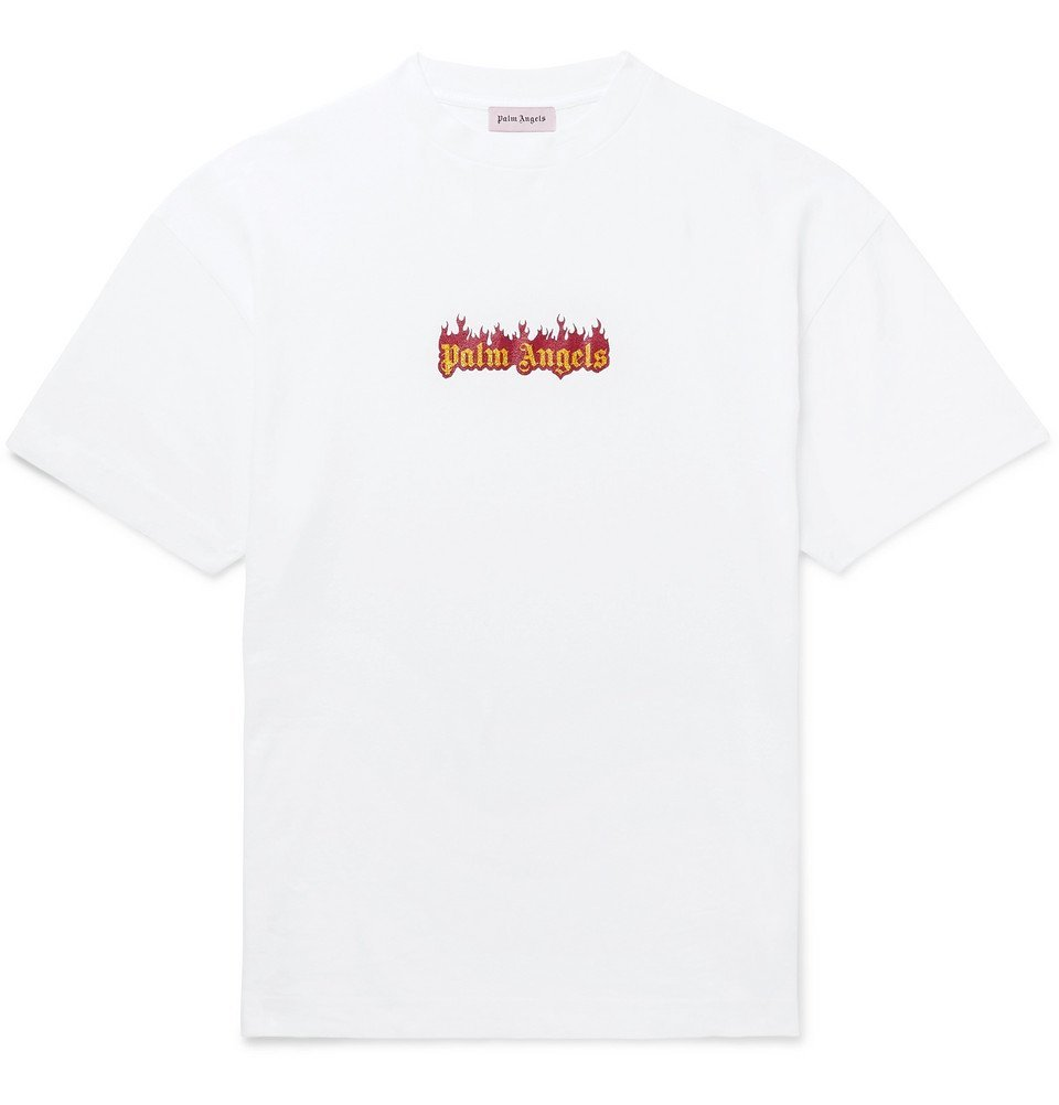 Photo: Palm Angels - Glittered Logo-Print Cotton-Jersey T-Shirt - White