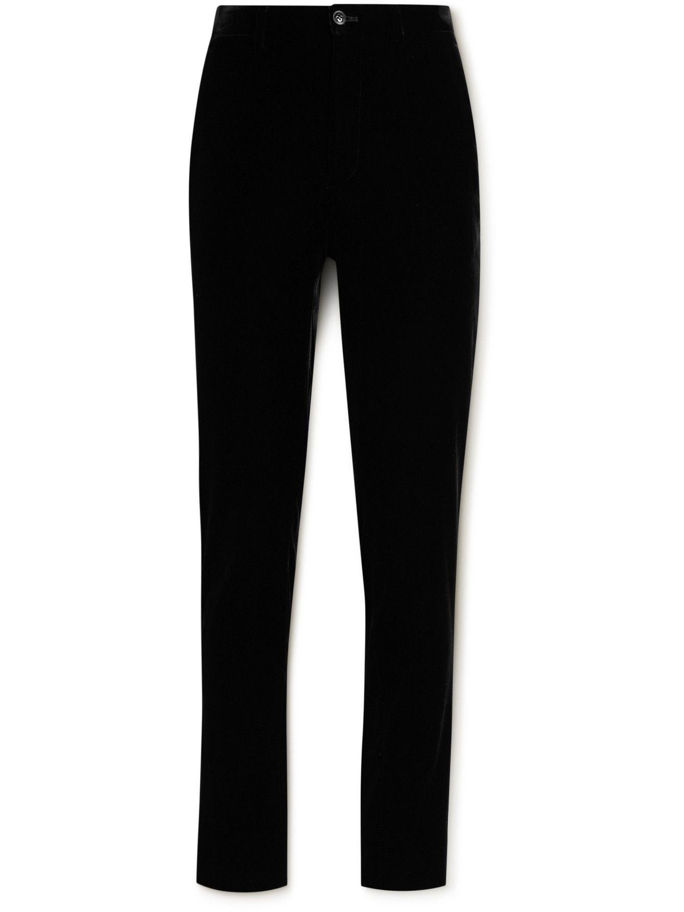 Photo: Giorgio Armani - Slim-Fit Velvet Trousers - Black