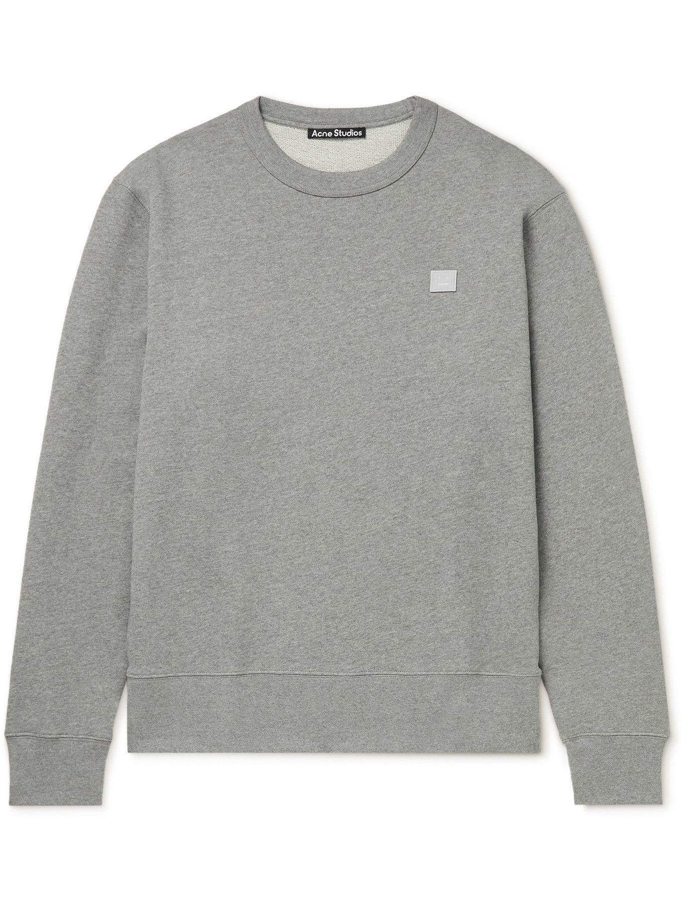 Photo: ACNE STUDIOS - Logo-Appliquéd Organic Cotton-Jersey Sweatshirt - Gray