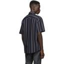 Dunhill Navy Poplin Striped Short Sleeve Shirt