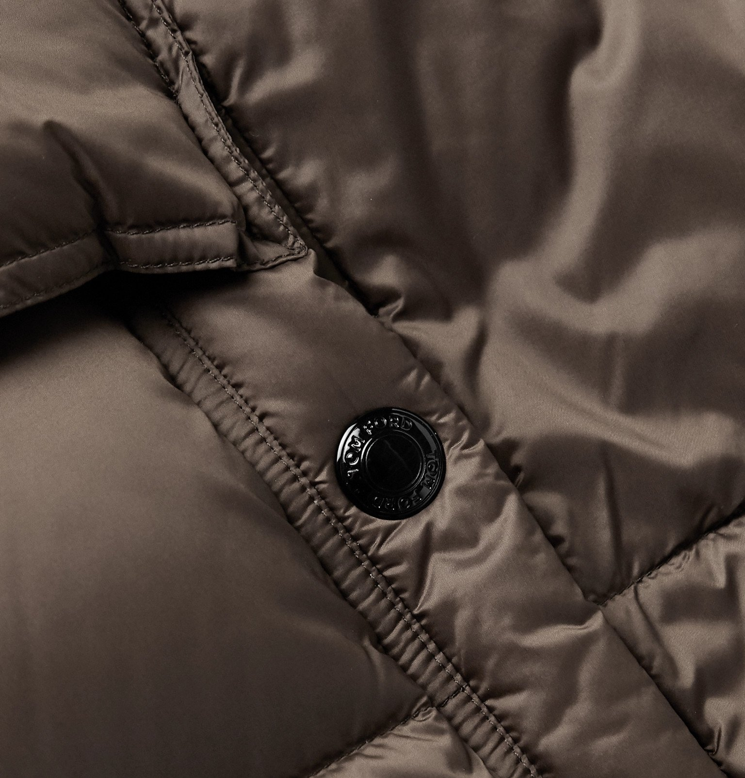 TOM FORD - Leather-Trimmed Quilted Shell Hooded Down Jacket - Brown
