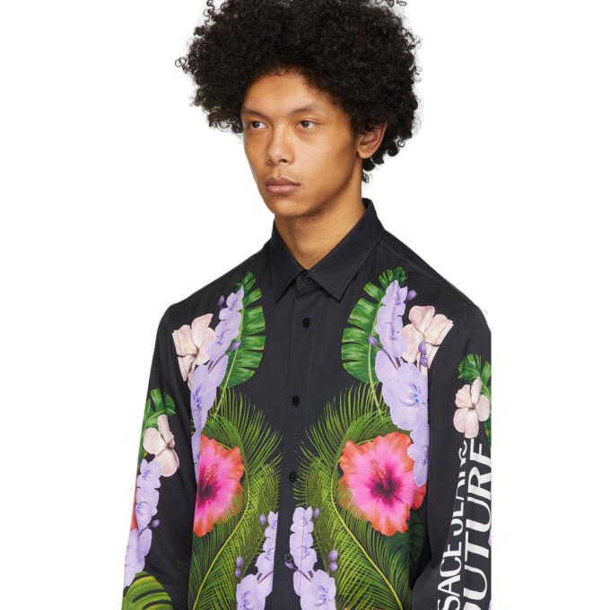 Versace Jeans Couture Black Tropical Print Shirt