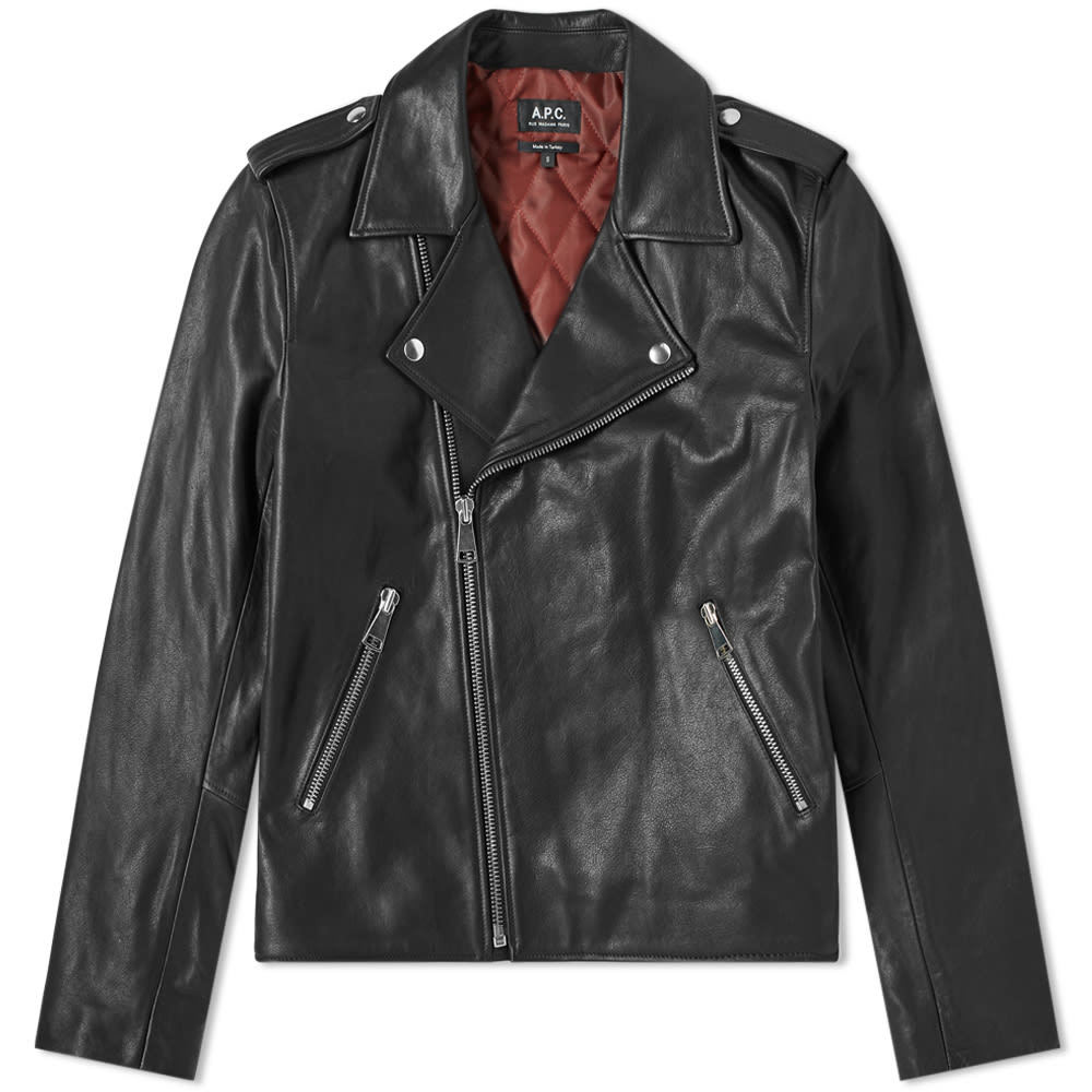 Photo: A.P.C. Perfecto Uno Leather Biker Jacket Black