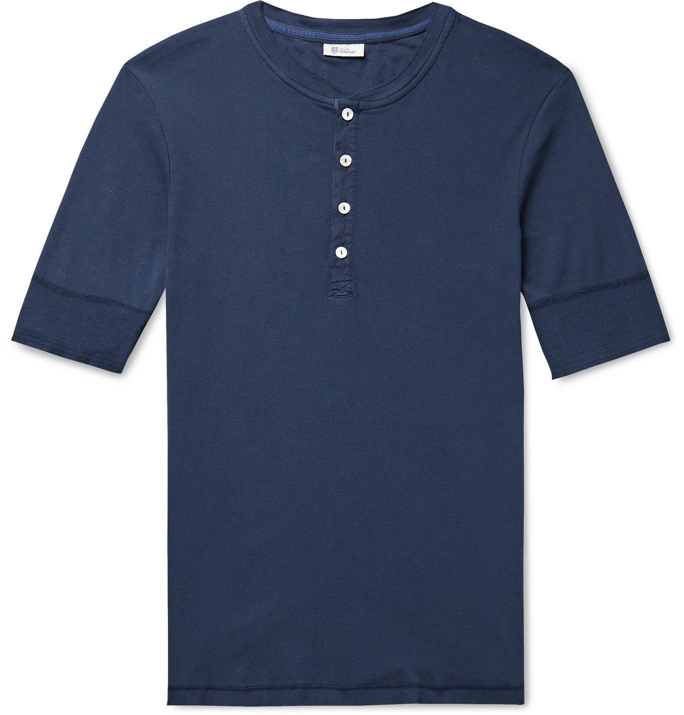 SCHIESSER - Karl Heinz Slim-Fit Cotton-Jersey Henley T-Shirt - Blue