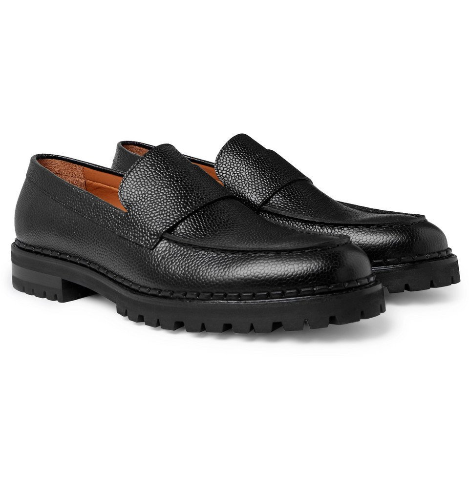 Photo: Lanvin - Pebble-Grain Leather Loafers - Black