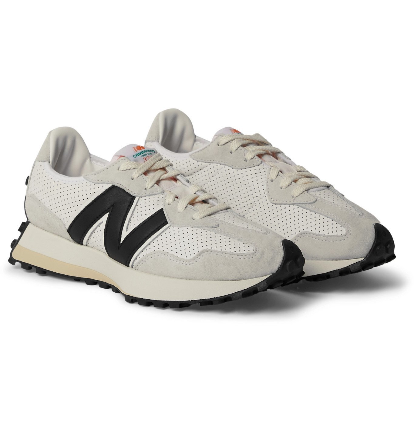 Photo: NEW BALANCE - Casablanca 327 Suede-Trimmed Perforated Leather Sneakers - White