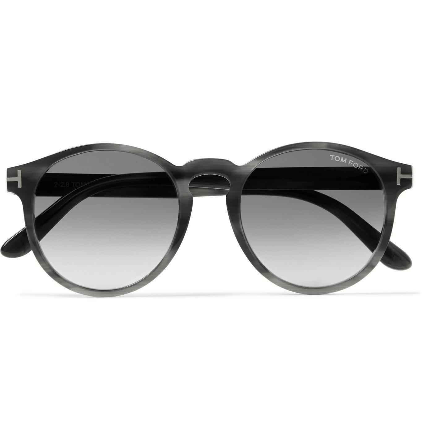 Photo: TOM FORD - Ian Round-Frame Tortoiseshell Acetate and Silver-Tone Sunglasses - Gray