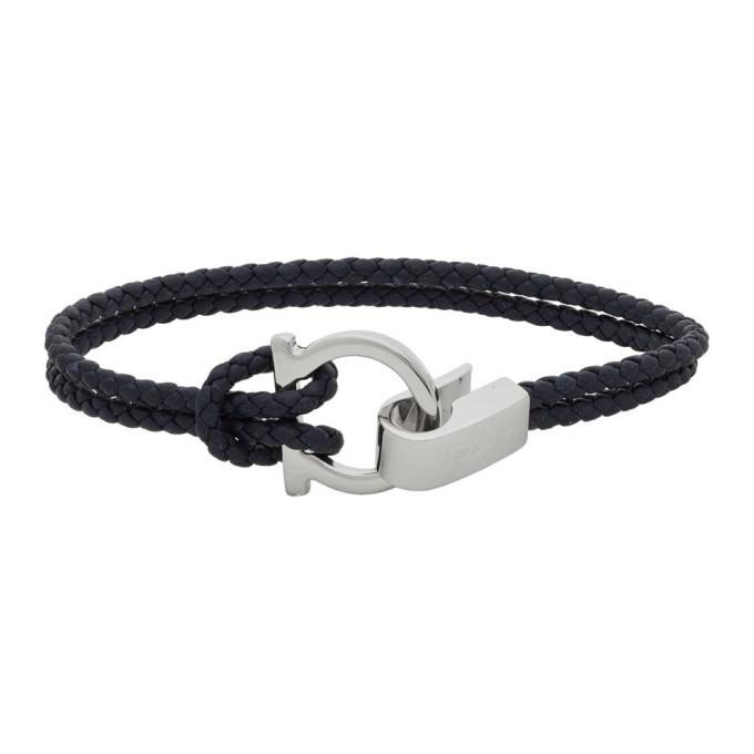 Photo: Salvatore Ferragamo Navy Woven Double Gancini Bracelet