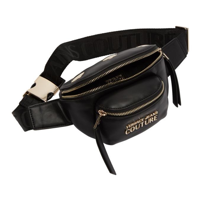 Versace Jeans Couture Black Mini Faux-Leather Belt Bag