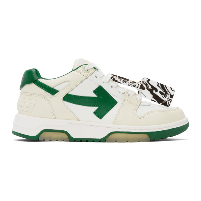 Photo: Off-White White and Green Out Of Office Sneakers