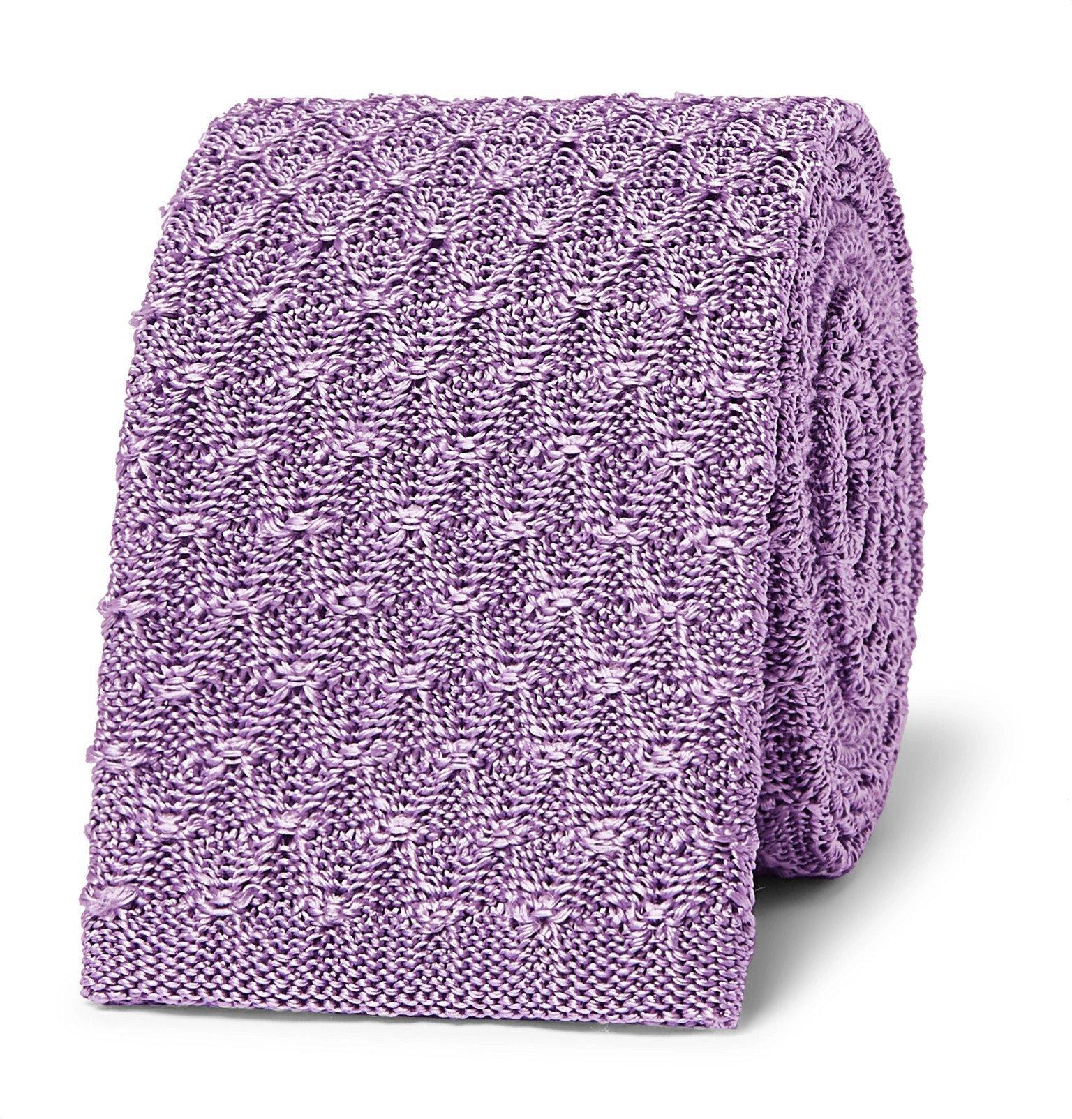 Photo: Richard James - 6.5cm Knitted Silk Tie - Purple
