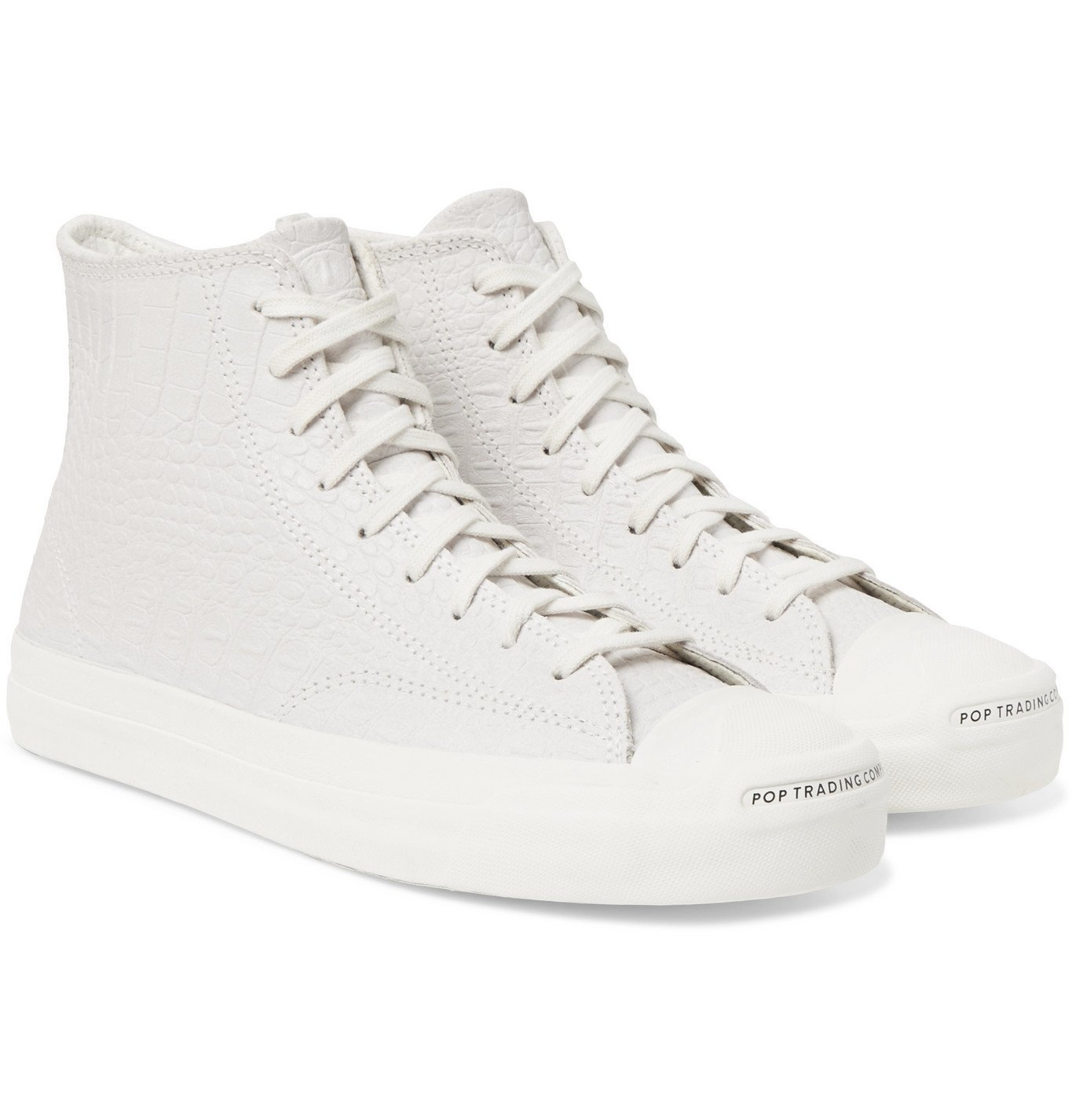 Photo: Converse - Pop Trading Company Jack Purcell Embossed Leather High-Top Sneakers - Neutrals