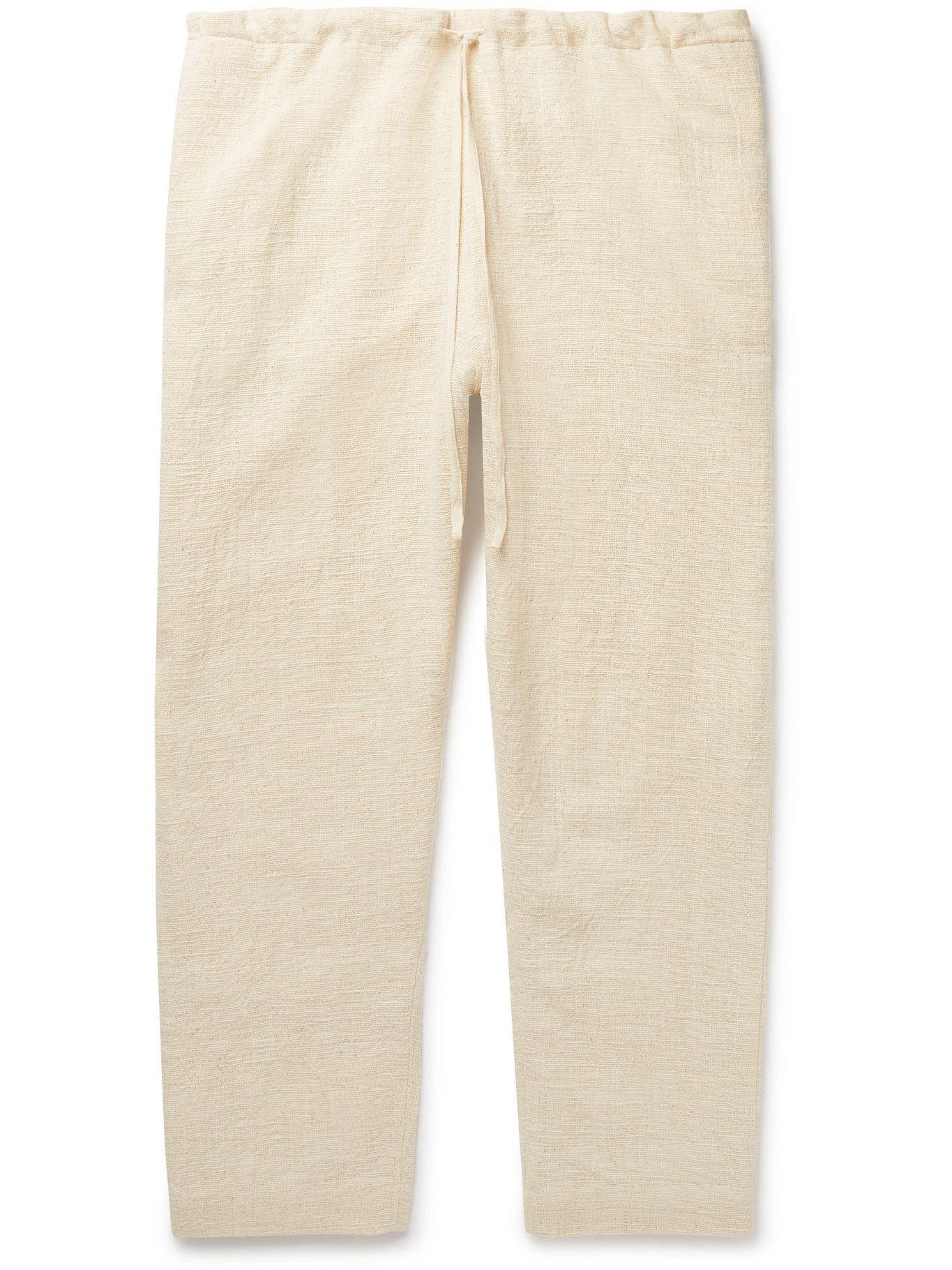 11.11/eleven eleven - Cotton-Canvas Drawstring Trousers - Neutrals
